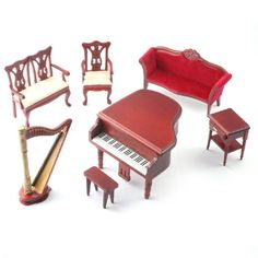 1:12 scale Music Room Set, complete with Harp and Piano!