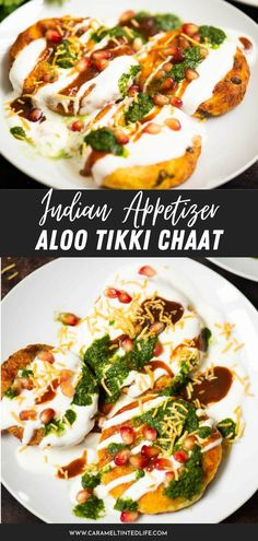 Indian street style chaat made with potato patties and chaat chutneys. An easy and delicious recipe! Easy and delicious Indian snack. #vegan #vegetarian #restaurant #style #recipe #chaat #patty #potato #Indian #authentic Healthy Indian Recipes, North Indian Recipes, Indian Appetizers, Indian Snacks, Potato Patties, Chaat Masala, Caprese Salad, Food Videos, Yummy Food