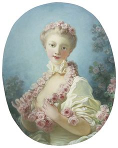 mistralienne:  Jean-Honoré Fragonard, A young blonde woman with a garland of roses around her neck 18th century