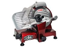 """KWS Premium 200w Electric Meat Slicer 6""""(Red) Stainless Steel Blade, Frozen Meat/ Cheese/ Food Slicer Low Noises"""