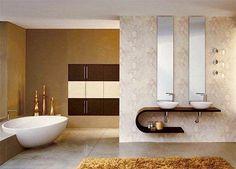 baño con tina y lavabo doble