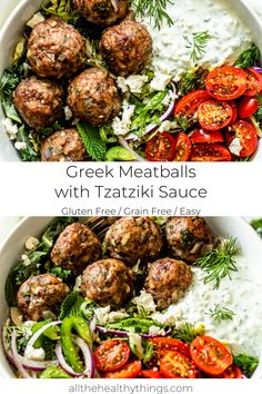 Greek Meatballs with Tzatziki Sauce - This recipe for flavorful juicy Greek meatballs filled with fresh herbs is a quick and easy recipe t - Easy Mediterranean Diet Recipes, Mediterranean Dishes, Meat Recipes, Cooking Recipes, Healthy Recipes, Chicken Recipes, Oven Recipes, Vegetarian Cooking, Easy Cooking