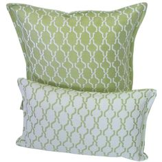 Corona Decor Green and White Indoor/ Outdoor Decorative Throw Pillow (Set of 2), Size Specialty (Polyester, Geometric)