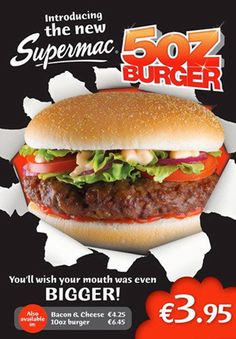 Supermacs Burger © David Cantwell Photography Advertising Photography, A Food, Photography Ideas, Hamburger, Bacon, Nostalgia, Beverages, Banner, Menu