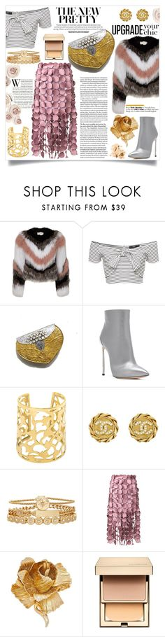 """Upgrade with Golds"" by jalouze ❤ liked on Polyvore featuring Casadei, Chanel, Treasure & Bond, Loewe, Christian Dior, Clarins and Bobbi Brown Cosmetics"