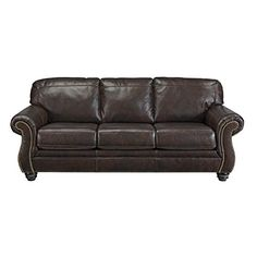 Ashley Bristan Collection 8220238 Sofa with Stitched Detailing Nail Head Accents Rolled Arms and Traditional Style in