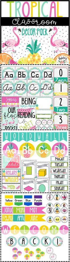 Tropical Classroom Decor Pack. Bright, flamingos, pineapples, & more!