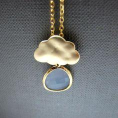 Gloomy Cloud Necklace // Matte Gold Cloud Charm // Powder by Piggy, $36.00