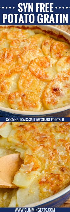 one loves a cheesy garlicky Potato Gratin and this one will not disappoint. It ticks every box and is truly scrumptious. gluten free, vegetarian, Slimming World and Weight Watchers friendly Slimming World Free, Slimming World Dinners, Slimming Eats, Slimming World Lunch Ideas, Slimming World Desserts, Slimming World Breakfast, Slimming World Hash Brown, Slimming World Lasagne, Slimming World Syns List