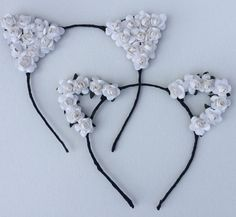 White Flower cat ear headband worn by Vanessa by SoCalBySteph