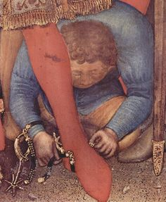 Gentile da Fabriano, Adoration of the Magi, detail of a servant taking away the spurs of one of the Magi, 1423. Tempera, gold and silver on wood, Galleria degli Uffizi, Florence