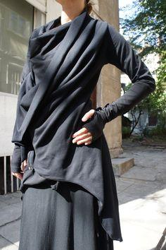 Autumn Black Coat / Cotton  Coat / Extravagant  Asymmetrical   Blazer / Extra long  sleeves. $85.00, via Etsy.