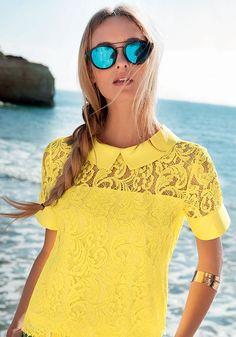 Naracamicie collezione 2015 - camicia gialla in pizzo