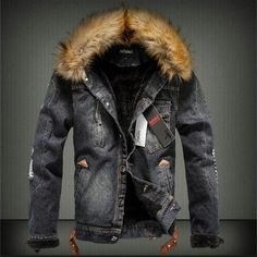 Hot Offer 2018 Autumn and Winter Influx of Men Casual Denim Jacket Winter Thick Denim Jacket Retro Jacket Nagymaros Collar Cashmere Coat Denim Jacket With Fur, Denim Jacket Men, Fur Jacket, Leather Jacket, Men's Denim, Padded Jacket, Bomber Jacket, Denim Man, Patched Denim