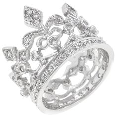 White Gold Rhodium Bonded Crown Style Eternity Ring Featuring Milligrain Accents and Bezel Channel and Pave Set Round Cut Clear CZ in Silvertone