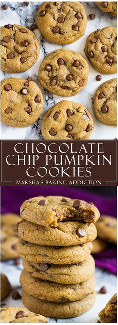 Chocolate Chip Pumpkin Cookies | http://marshasbakingaddiction.com /marshasbakeblog/