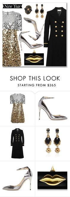 New Year's Party Style by dressedbyrose on Polyvore featuring Dolce&Gabbana, Yves Saint Laurent, Jimmy Choo, Charlotte Olympia, Gucci, Oscar de la Renta, polyvoreeditorial and newyear