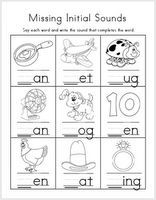 Mrs. Ricca's Kindergarten: Literacy Worksheets {FREEBIES} fill in missing beginning, middle or ending sound....3 worksheets