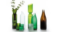 love it! vases and glasses made from old/used bottles! just beautiful.