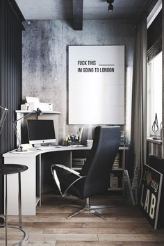 Want to have a comfortable home office to improve your productivity? Yaa, home office is a very important room. Here are some inspirations Home office design ideas from us. Hope you are inspired and. Modern Apartment Design, Home Office Design, Home Office Decor, House Design, Home Decor, Office Ideas, Office Designs, Men Office, Loft Office