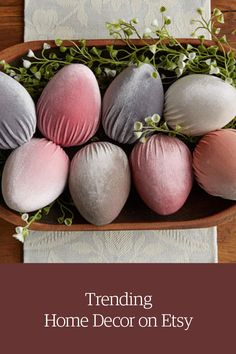 Pastel velvet easter eggs. Shop Easter decor & more on Etsy.