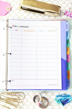 Class Schedule Printable, Student Binder with Free Printables for Back-to-School, study aids, high school organization, college organization, middle school organization, pretty printables, printables for girls, printables for boys, resources for students, back to school, graduation gift, student organization, teacher printables