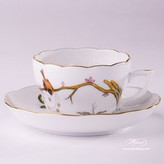Dream Garden-REJA Tea or Coffee Cup and Saucer - 20730-0-00 REJA - Herend Porcelain The Herend Dream Garden Tea Cup which is suitable for both Tea and Coffee. Total: 2 pieces Herend items This Dream Garden decor is the modern variant of Couple of Birds-RO pattern. The Dream Garden-REJA decor is available Tea, Coffee, Mocha and Dinner Set too.