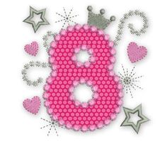 Happy Bithday Number 8 Pink Glamour for Girl Applique Embroidery Design HB011