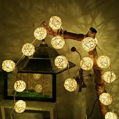 2M Rattan Ball LED String Light Warm White Fairy Light Holiday Light For Party Christmas Wedding Decoration Battery Operated