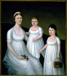 Grace Allison McCurdy and Her Daughters (c. 1806) by Joshua Johnson (active c. 1795-1825, Baltimore, Maryland), African-American freedman (Folk Art @ Cooperstown)