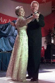 First Lady Hillary Clinton dances with her husband, President Clinton, at  the New England Ball during his second-term inauguration night.