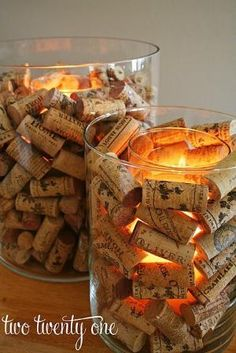 Wine cork tealight holders - place a smaller clear vase inside a larger one and line the space between the two with wine corks; add tea lite/votive to smaller vase