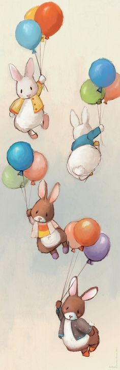 Flying Bunnies Art Print Great for a baby's nursery.