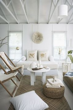 Beachy living room as featured in Canadian House and Home. Cottage Living Rooms, Cottage Homes, Cottage Style, Coastal Living, Cozy Living, Simple Living, Modern Living, Canadian House, Deco Marine