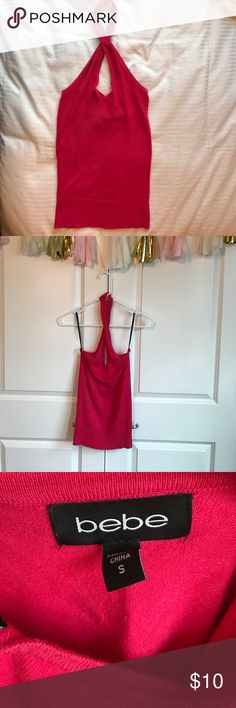 Bebe Keyhole Crisscross Halter Top Gorgeous strawberry pink crisscross halter with a keyhole. I've worn this top a few times to special events and always got compliments. bebe Tops