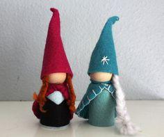 Waldorf a inspiré Elsa et Anna congelés Gnome poupées congelées Valentine