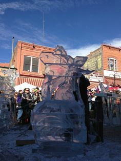 Ice sculpting in a mining town