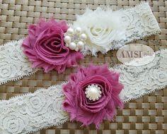Wedding Garters, Dusty Rose garter, Mauve Garter, Garter Sets, Lace Garter, Dusty Rose wedding, Ivory garter,Garter Belts, Bride Accessories