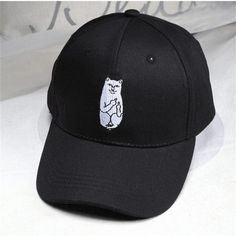 21982670dc9 Middle Finger Cat Case Baseball Caps Korea Ulzzang Harajuku Embroidery  Cartoon Hats Men Women Hip Hop