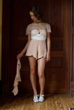 Scalloped Shorts with Removable Peplum Skirt
