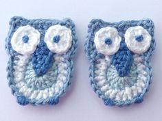 Crochet applique 2 blue crochet owls cards by MyfanwysAppliques
