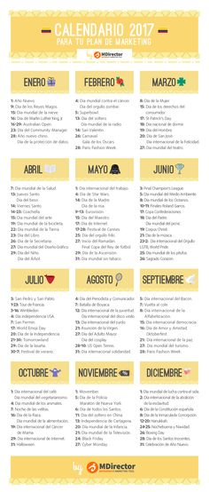 Calendario de fechas de interés para Marketing #infografia