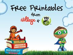 iVillage PBS KIDS Summer Reading Community Challenge Reading Party Kits -- Download Free Printables for your children!