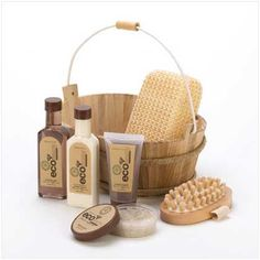 Eco-friendly bath set has every essential for a deluxe spa experience! Textured sponge and massaging brush invigorate, as moisturizing bath favorites give tired skin a welcome pick-me-up. shower gel and Body Spa, Bath And Body, Cheap Spa, Spa Basket, Shower Set, Spa Gifts, Tear, The Ordinary, Bath Crystals