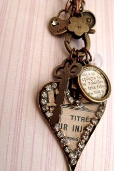 Keys and Hearts  Vintage 40s French Pharmacy by selinavaughan, $38.00