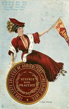 """""""Ames, Iowa State College of Agricultural and Mechanical Arts"""" ~ 1907 F. Earl Christy postcard, University Girls series"""