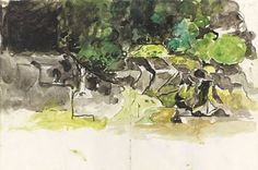 Graham Sutherland Estuary Trees and Rocks watercolour