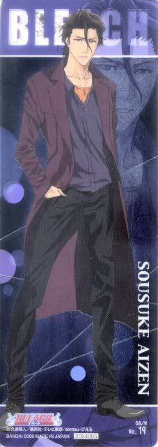 In this scan, handsome Aizen is dashing in a casual fall outfit. He looks particularly youthful and innocent here.