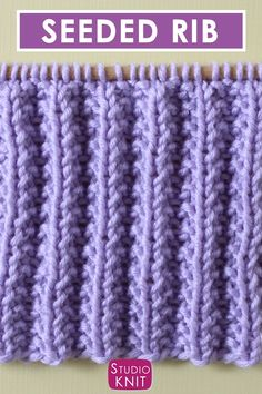 Seeded Rib Stitch (Knitting Pattern), The Seeded Rib Stitch Pattern creates thick, textured rows. This Repeat Knit Stitch Pattern is a simple combination of knits and purls. It is st. Rib Stitch Knitting, Knitting Stiches, Easy Knitting Patterns, Knitting Videos, Free Knitting, Crochet Stitches, Stitch Patterns, Crochet Patterns, Rib Knit