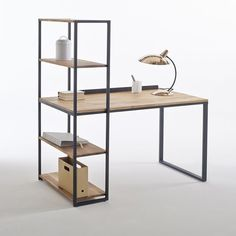 Hiba Steel/Solid Oak Desk with Shelving Unit LA REDOUTE INTERIEURS Industrial style furniture in solid joined oak and metal, providing 2 pieces of furniture in one. The Hiba desk-shelving unit combines contemporary. Iron Furniture, Steel Furniture, Retro Furniture, Furniture Plans, Home Furniture, Furniture Design, Furniture Stores, Bedroom Furniture, Furniture Chairs